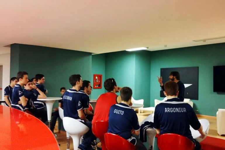 Baskonia Atlantis players during a session with the club's mental coach