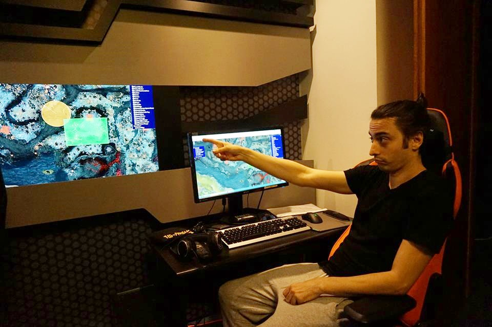 "Cristian ""ppasarel"" Bănăseanu, coaching Cloud 9 at their TI5 bootcamp, in Bucharest, earlier this month"