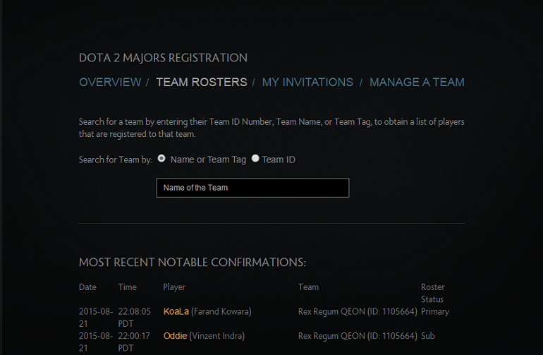 Dota 2 Majors team roster list