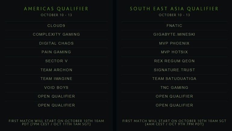Dota Major Americas and SEA qualifiers teams