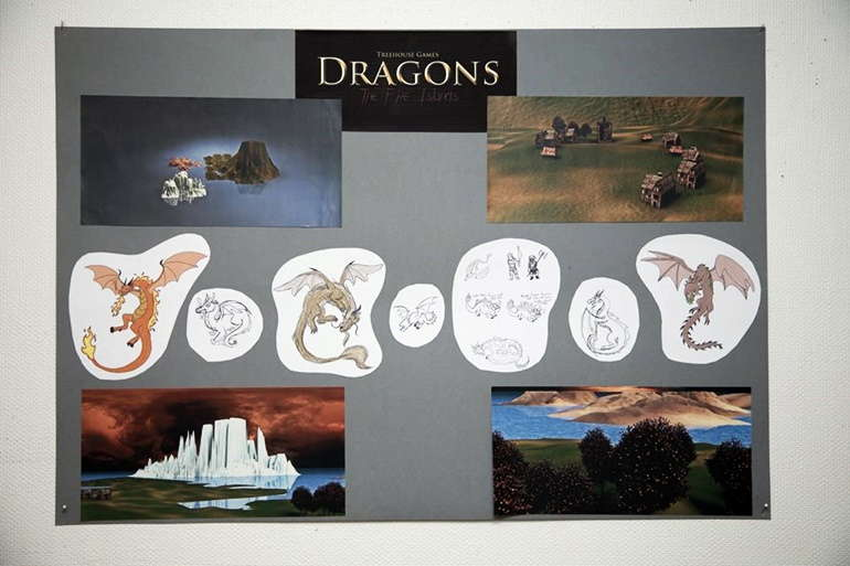 """Part of the presentation for a game called """"Dragons - The Five Islands"""", created by students at the Garnes Vidaregåande Skule"""