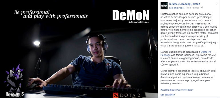 Dota 2 DeMoN joins Infamous Gaming