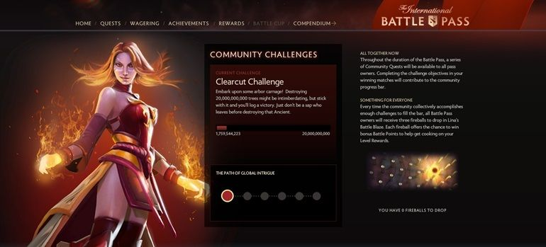 Dota 2 Clearcut Challenge TI6 Battle Pass trees challenge