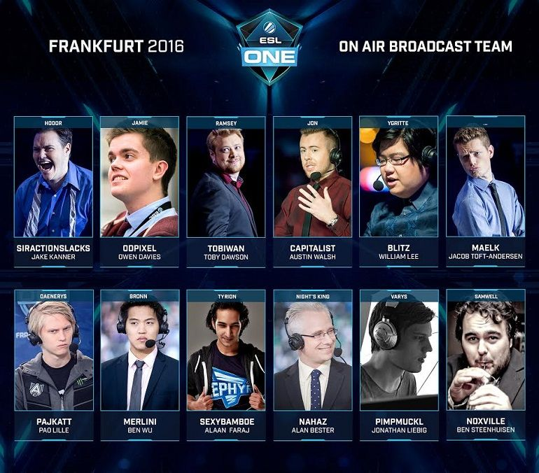 Dota 2 ESL One Frankfurt 2016 talent