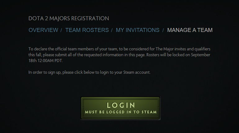 Dota 2 registration Fall Major roster lock